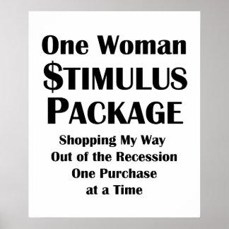 One Woman Stimulus Package Shopper's Economics Poster