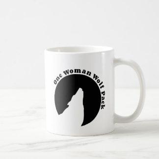 One Woman Wolf Pack in Black Coffee Mug