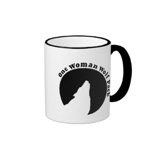 One Woman Wolf Pack in Black Ringer Mug