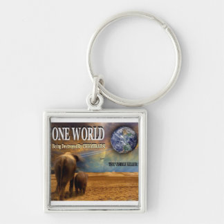 One World Being Destroyed by Chemtrails Keychain