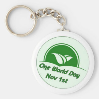 One World Day Button Key Chains