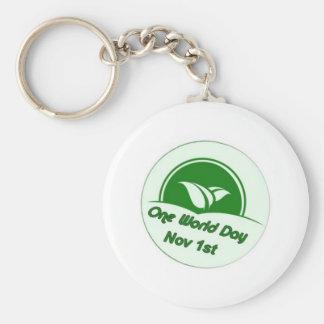 One World Day Button Keychains