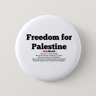 One World Freedom For Palestine Button