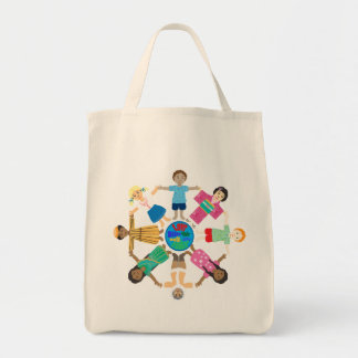 One world one family grocery tote bag