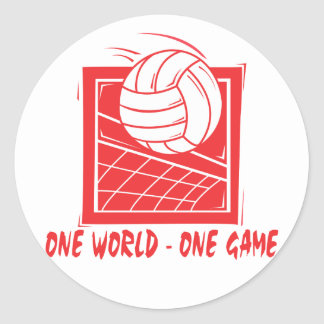 One World One Game Volleyball Classic Round Sticker