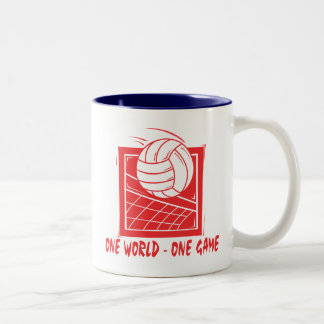 One  World One Game Volleyball Gift Two-Tone Coffee Mug