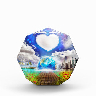 One World, One Heart Acrylic Octagon Award