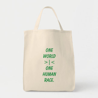 One World, One Human Race tote bag