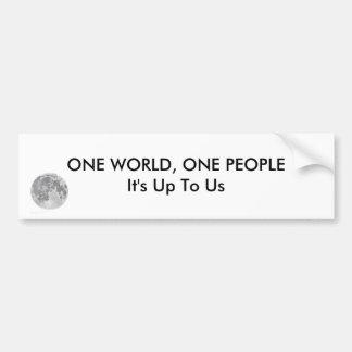 One World, One People Bumper Sticker Car Bumper Sticker