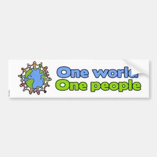 one world one people bumpersticker bumper sticker