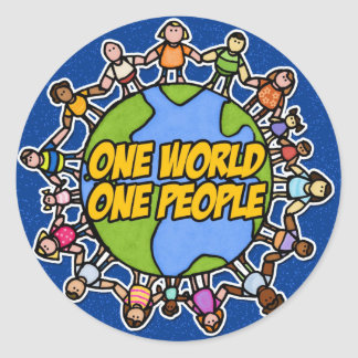 one world one people classic round sticker
