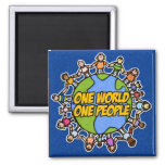 one world one people refrigerator magnet
