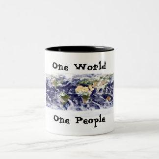 one world, one people Two-Tone coffee mug
