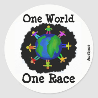 One World, One Race Classic Round Sticker