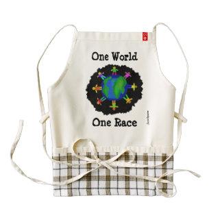 One World, One Race Zazzle HEART Apron