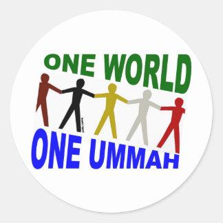 One World One Ummah Round Sticker