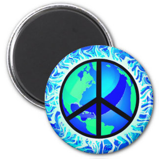 One World Peace Sign 2 Inch Round Magnet