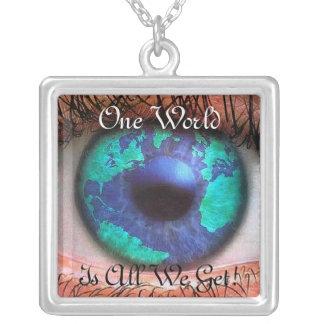 One world square pendant necklace