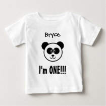 One Year 1st Birthday Boy or Girl with Panda V03 Baby T-Shirt