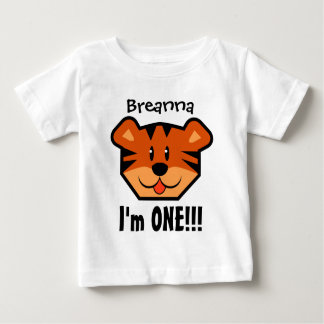 One Year 1st Birthday Boy or Girl with Tiger V08 Baby T-Shirt
