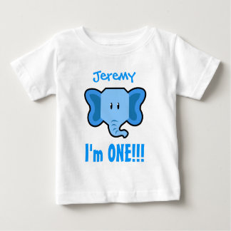 One Year 1st Birthday Boy with Elephant V01 Baby T-Shirt