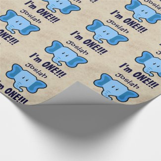 One Year 1st Birthday Cute Elephant Face A02 Wrapping Paper