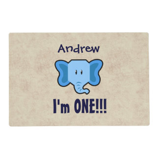 One Year 1st Birthday Cute Elephant Face A15 Laminated Placemat