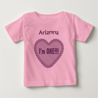 One Year 1st Birthday CUTE LACE HEART V22 Baby T-Shirt
