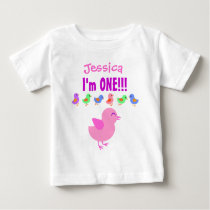 One Year 1st Birthday Cute Little Chicks V05 Baby T-Shirt