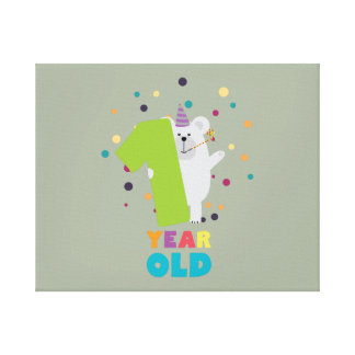 One Year first Birthday Party Zqk1q Canvas Print