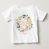 One Year Old Birthday Baby Girl Floral Wreath-2 Baby T-Shirt