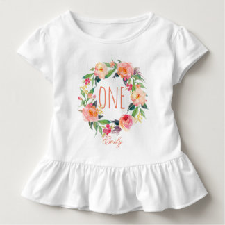 One Year Old Birthday Baby Girl Floral Wreath-2 Toddler T-shirt