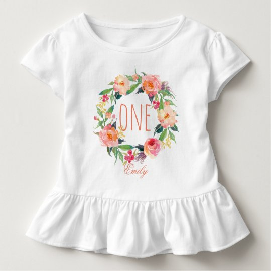 1ed7898af One Year Old Birthday Baby Girl Floral Wreath-2 Toddler T-shirt ...