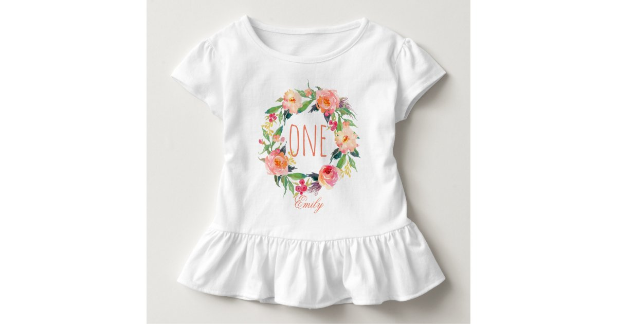 One Year Old Birthday Baby Girl Floral Wreath 2 Toddler T Shirt