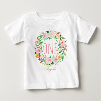 One Year Old Birthday Baby Girl Floral Wreath-3 Baby T-Shirt