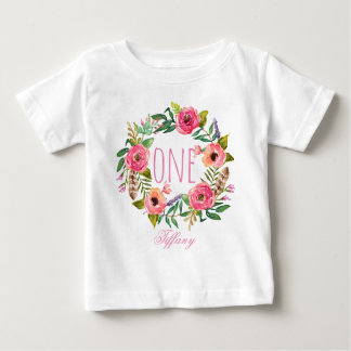One Year Old Birthday Baby Girl Floral Wreath-4 Baby T-Shirt