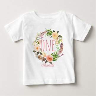 One Year Old Birthday Baby Girl Floral Wreath-5 Baby T-Shirt