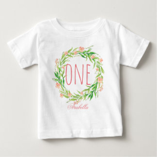 One Year Old Birthday Baby Girl Floral Wreath-6 Baby T-Shirt