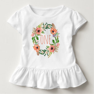 One Year Old Birthday Baby Girl Floral Wreath Toddler T-shirt