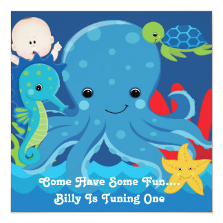 One Year Old Birthday Octopus Party Card