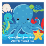 One Year Old Birthday Octopus Party 5.25x5.25 Square Paper Invitation Card