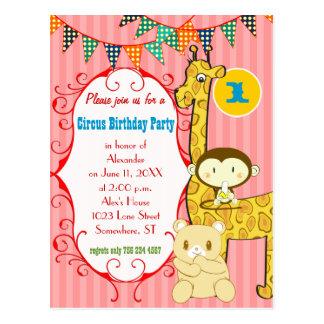One Year Old Circus Elephant Monkey Giraffe Party Postcard