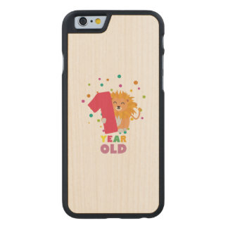 One Year old first Birthday Party Zebsh Carved Maple iPhone 6 Slim Case