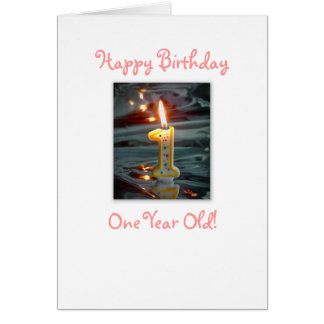 One Year Old Girl Card