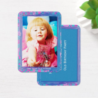 One Year Old  Girls Birthday Photo Cards