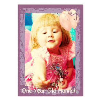 One Year Old Girls Birthday Photo Cards Business Card Template