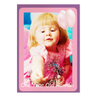 One Year Old Girls Birthday Photo Cards Business Card