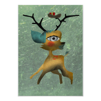 One year old party deer bambi nest bird invitation