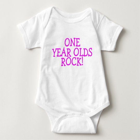 One Year Olds Rock (Pink) Baby Bodysuit