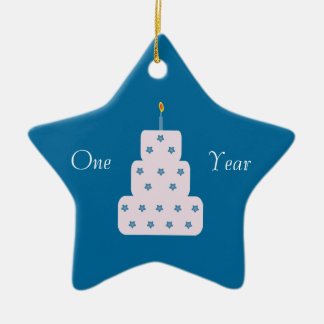 One Year Sobriety Birthday Cake Customizable Blue Ceramic Ornament